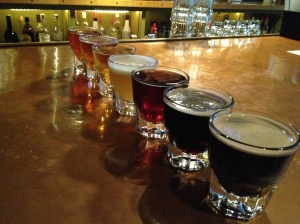 A flight of beers at the South Street Brewery